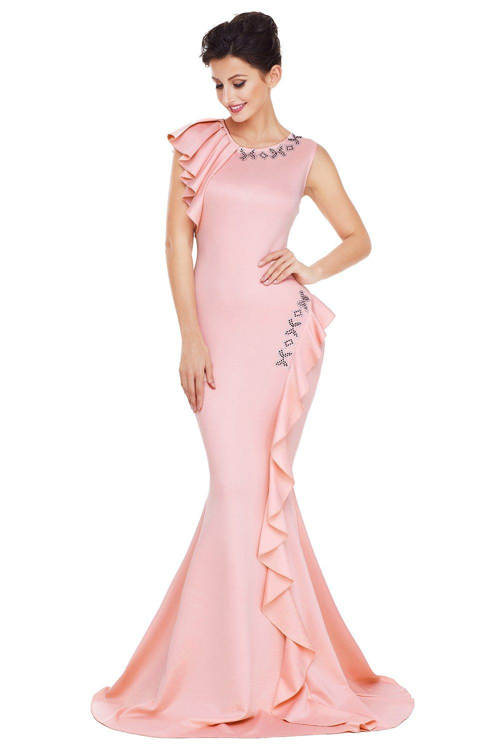 Her Fashion Pink Asymmetric Pleats Trendy Long Prom Party Dress ...