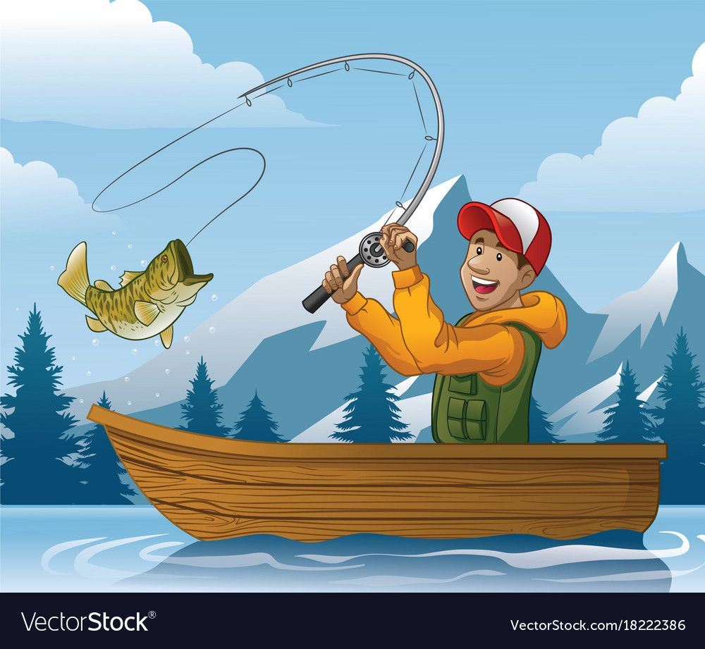 vector cartoon of man fishing in boat. Download a Free ...