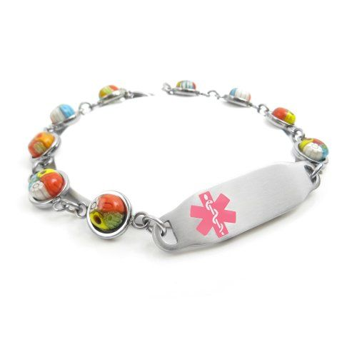 Red Pre-Engraved /& Customized Bee Sting Allergy Bracelet Red Millefiori Glass Customized My Identity Doctor