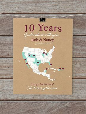 10 Year Anniversary Gifts 10th Anniversary Personalized Map of Travels Gifts for Him Husband Her Wife - Wedding Anniversary Tenth Year & 10 Year Anniversary Gifts 10th Anniversary Personalized Map of ...