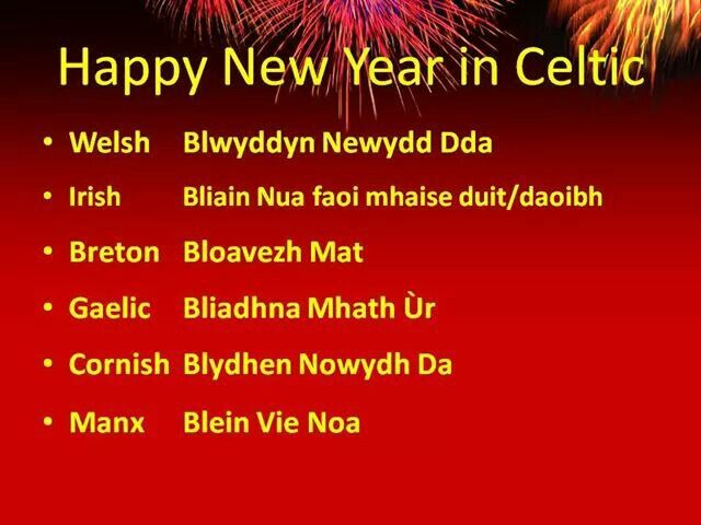 Celtic nations and their new year wishes in each language.