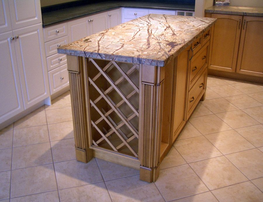 Wooden Kitchen Island with Wine Rack and Granite Top Diy Decor