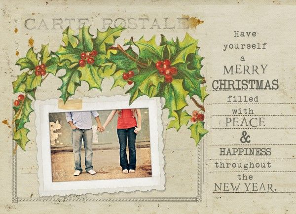 Free Vintage Holiday Card Template Free photoshop, Card templates