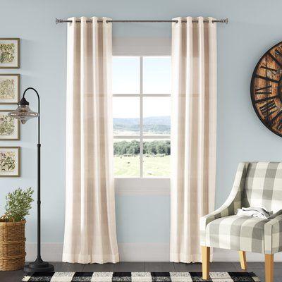 Laurel Foundry Modern Farmhouse Chandler Solid Faux Linen Sheer Grommet Single Curtain Panel In 2020 Panel Curtains Colorful Curtains Classic Curtains