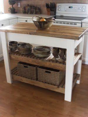 mesa auxiliar de cocina isla de cocina madera maciza | Deco ...
