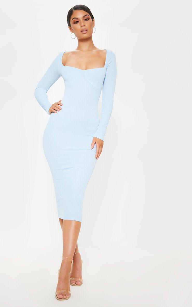 Baby Blue Long Sleeve Dress Outfit Long Sleeve Midi Dress Blue Bodycon Dress [ 1180 x 740 Pixel ]