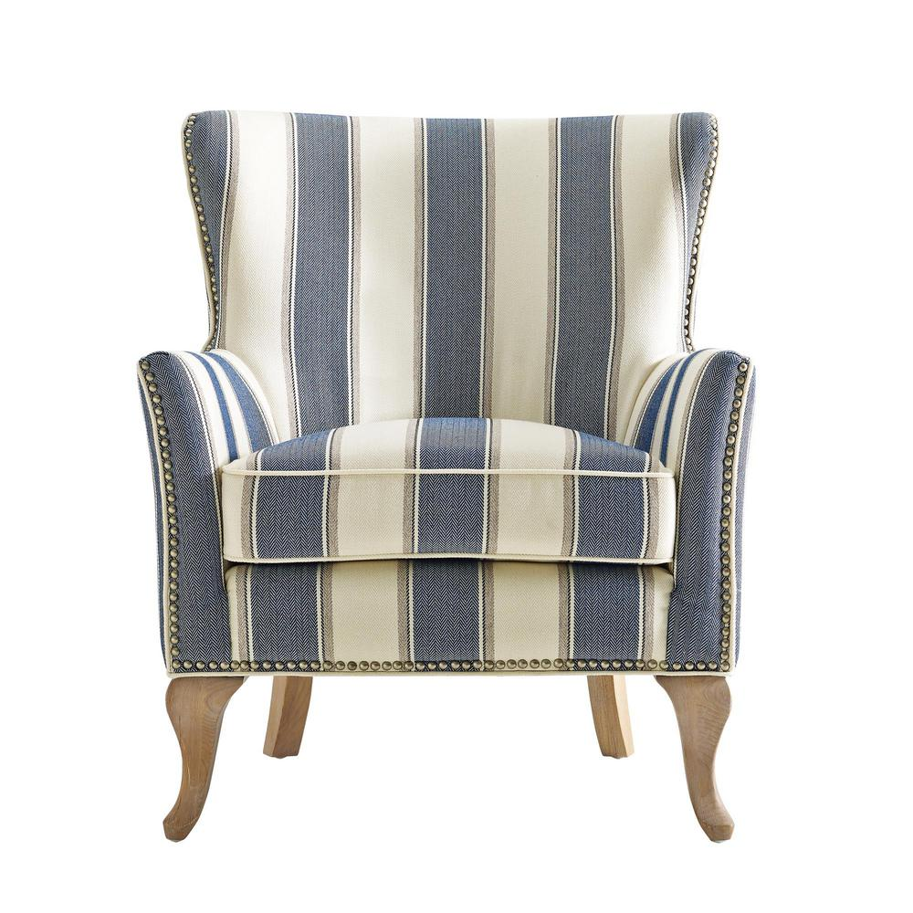 Dorel Living Dotty Blue Upholstered Accent Chair Blue Stripe