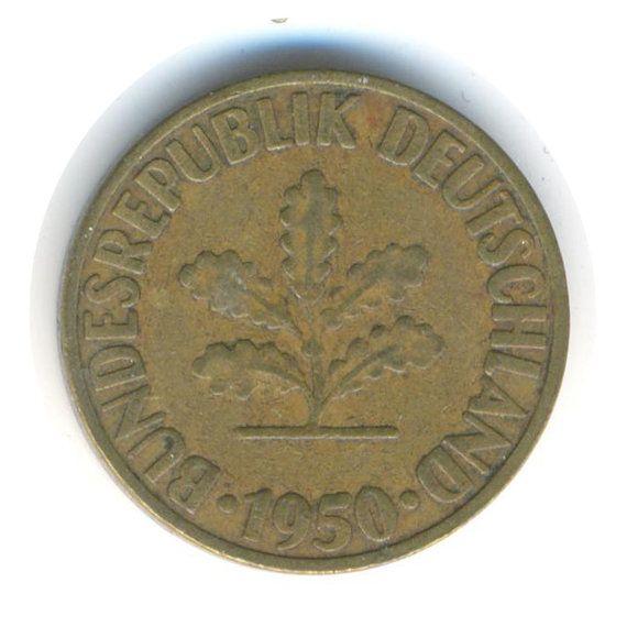 Vintage Coin Germany 10 Pfennig D 1950 by JMCVintagecards