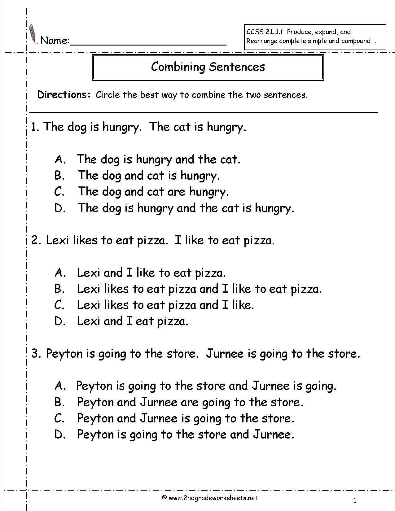 Worksheets Sentence Combining Worksheets Babyhunters