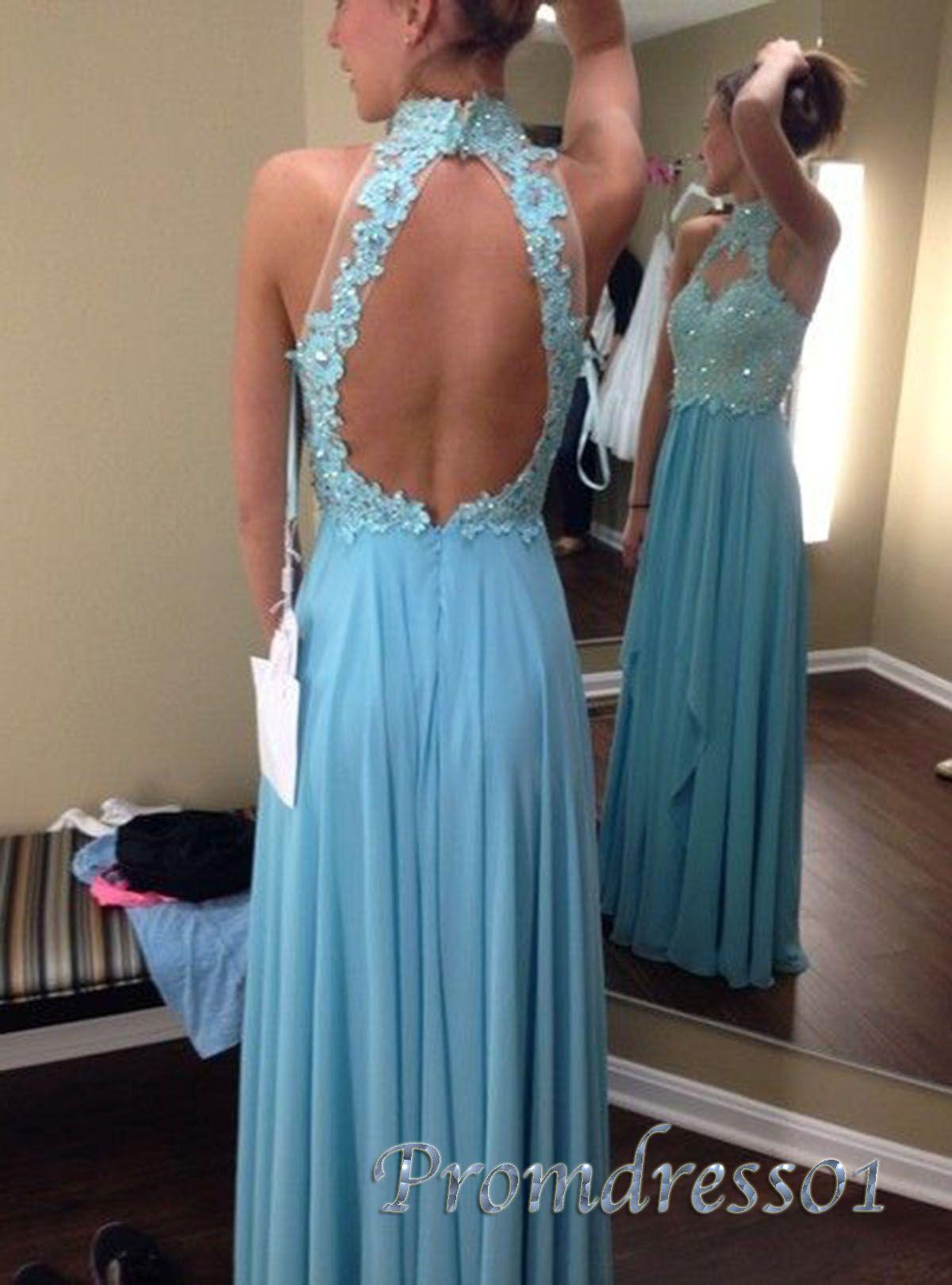 Gorgeous high neck blue lace chiffon senior prom dress handmade item