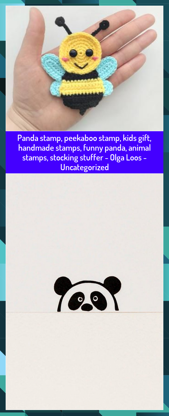 Panda stamp peekaboo stamp kids gift handmade stamps funny panda animal stamps stocking stuffer  Olga Loos  Uncategorized