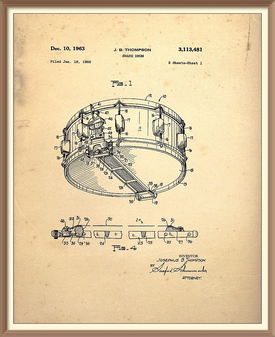 Size and Frame Options Snare Drum Percussion Musical Instrument Patent Print