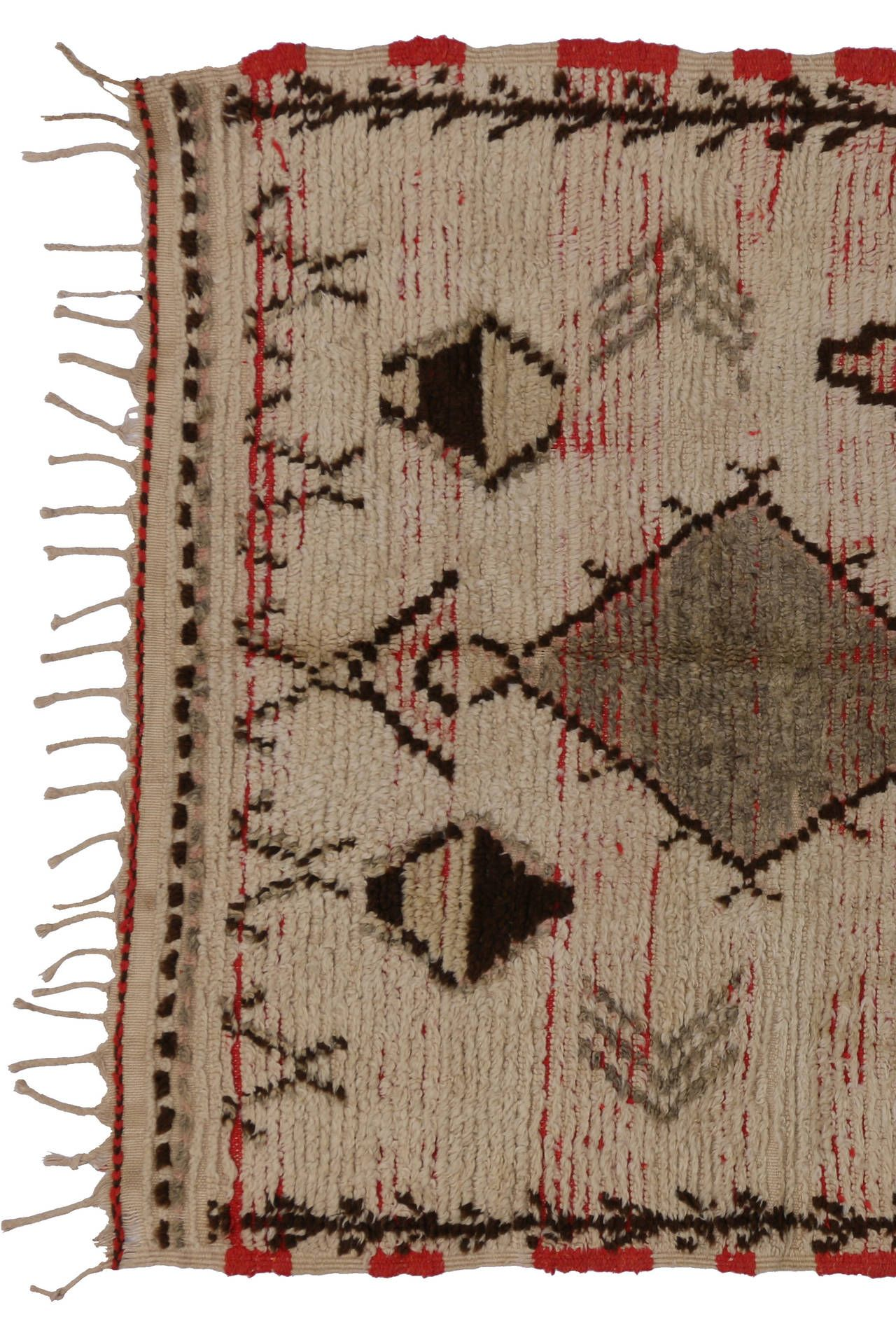 Mid-Century Modern Berber Moroccan Rug with Tribal Designs 5