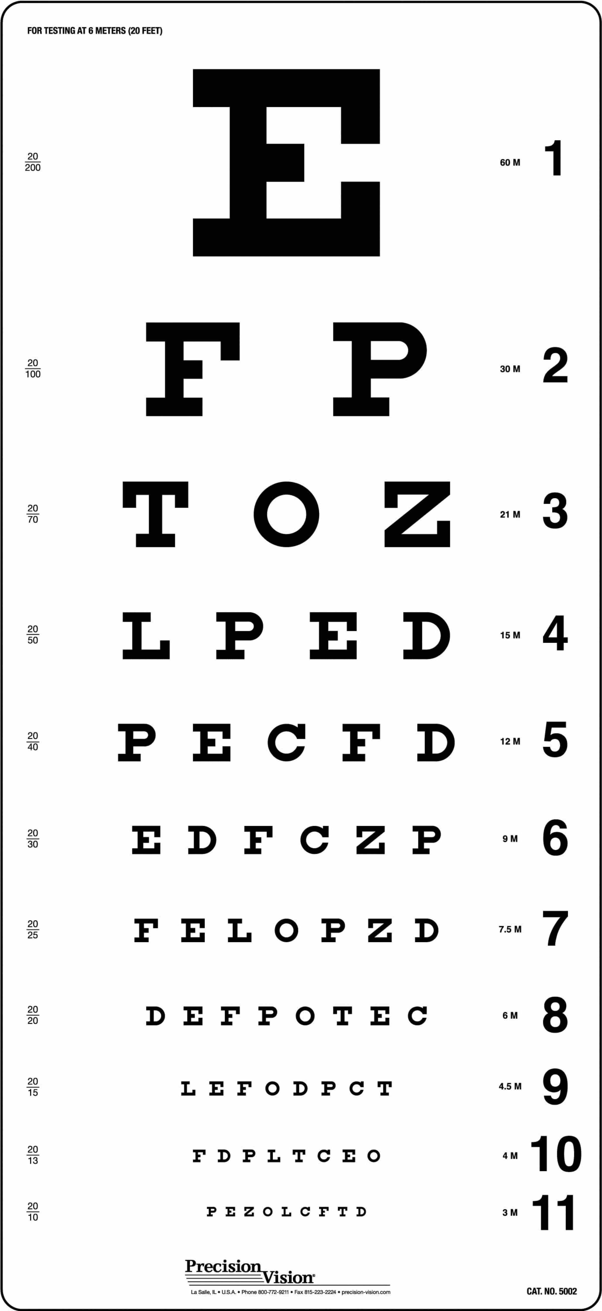Traditional Snellen Eye Chart Precision Vision In 2020 Eye Chart Eye Test Chart Vision Eye