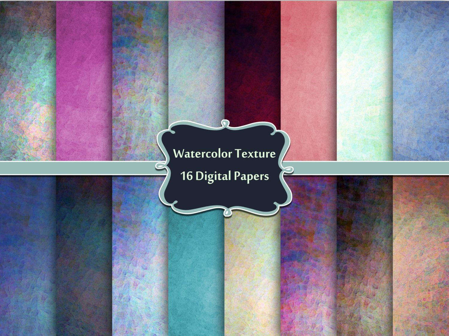Watercolor Textures Digital Paper Pack Commercial Use Ok