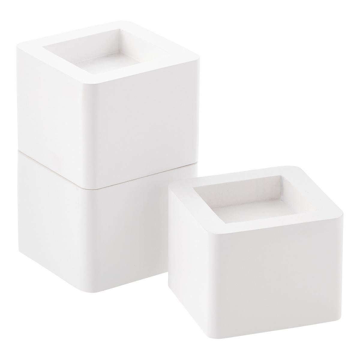 Best White Solid Wood Bed Risers The Container Store Solid 640 x 480