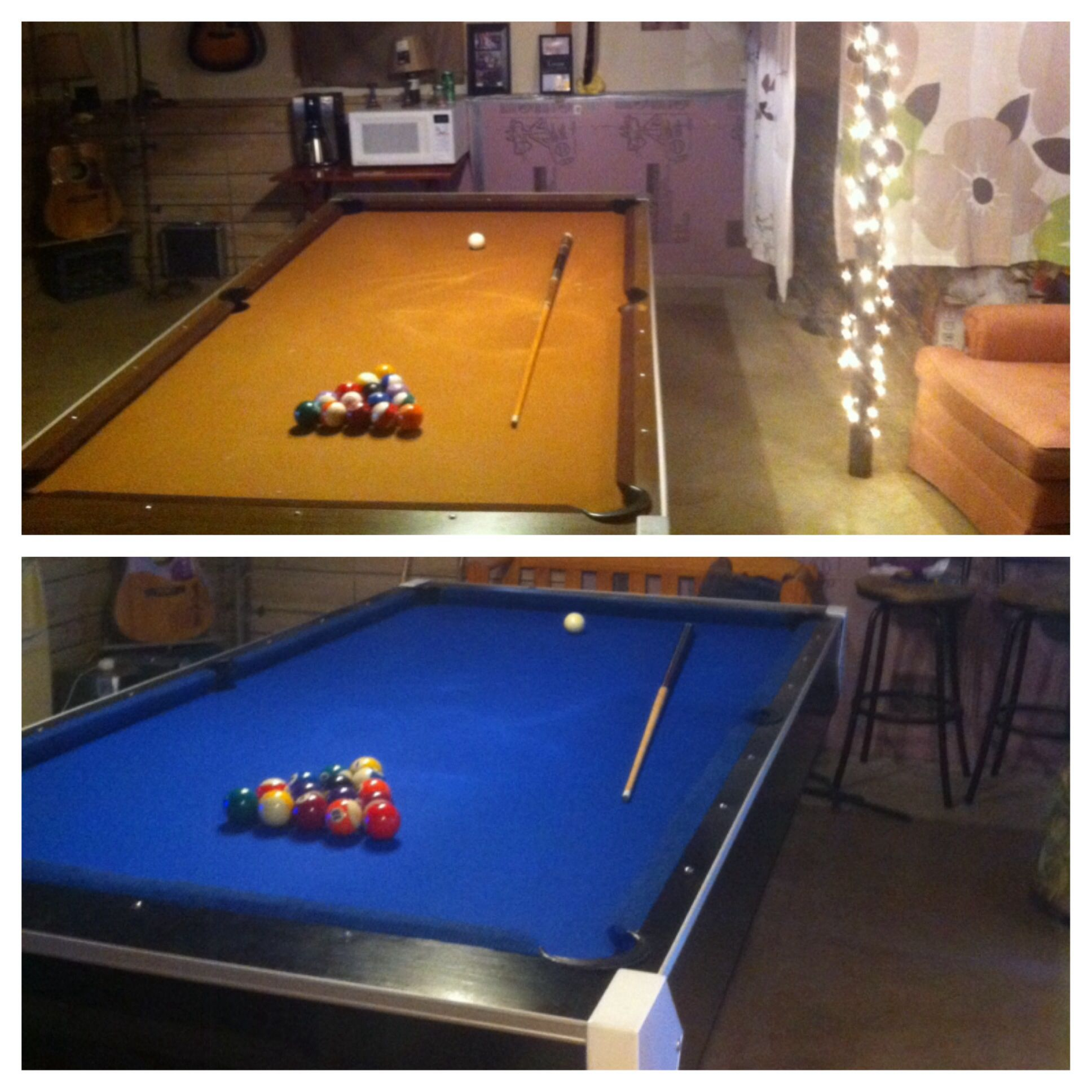 Diy pool table remodel used pool table 20 new felt for Pool redesign