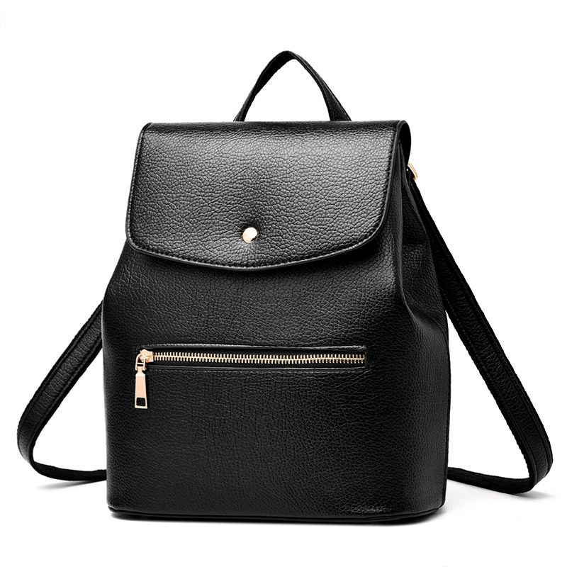 Women Leather Backpacks Solid College School Bag For Girls Female ...