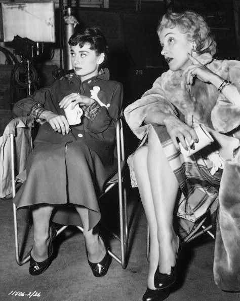 """Marlene visits Audrey on the set of """"Sabrina"""", 1954"""