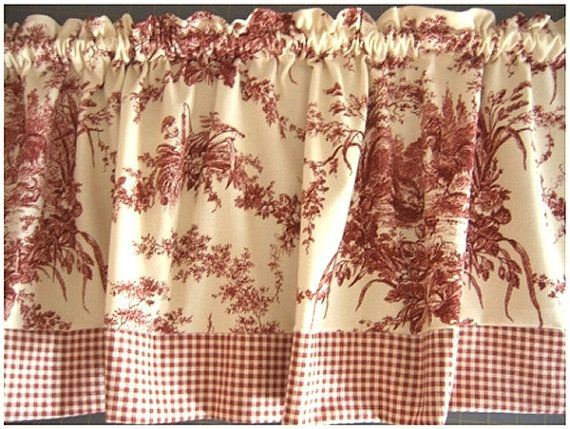 Red Toile Curtain Valance Waverly La Ferme Pattern Roosters Toile Curtains Curtains Red Toile Curtains