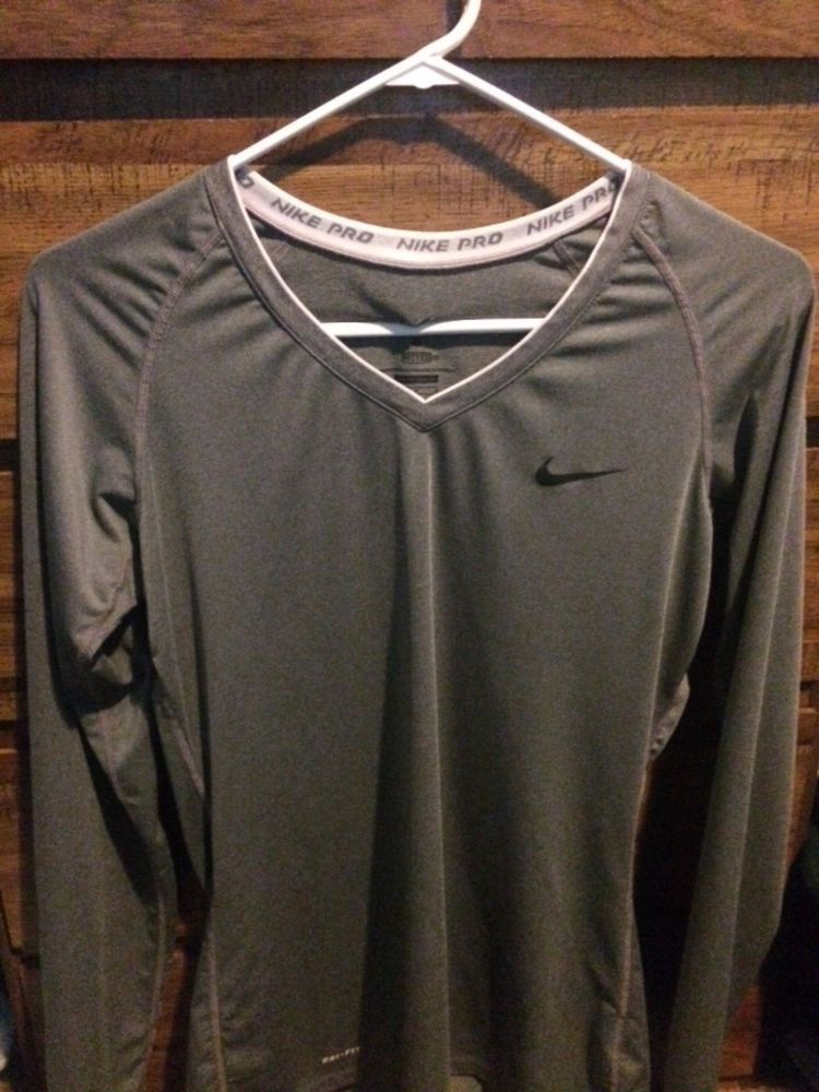 75f5e487 Nike Women's Dri-Fit Pro Combat Compression Long Sleeve V-Neck Shirt Gray  Large #fashion #clothing #shoes #accessories #womensclothing #activewear  (ebay ...