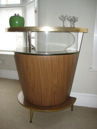 Vintage Retro Bar Cocktail Cabinet From 50s 60s Bar Atomic Cocktail Wooden Woodwork Wood