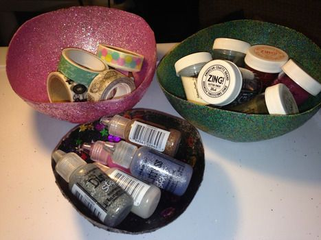 Ragasztó +Glitter = csillogó tál :) Modgepodge bowl