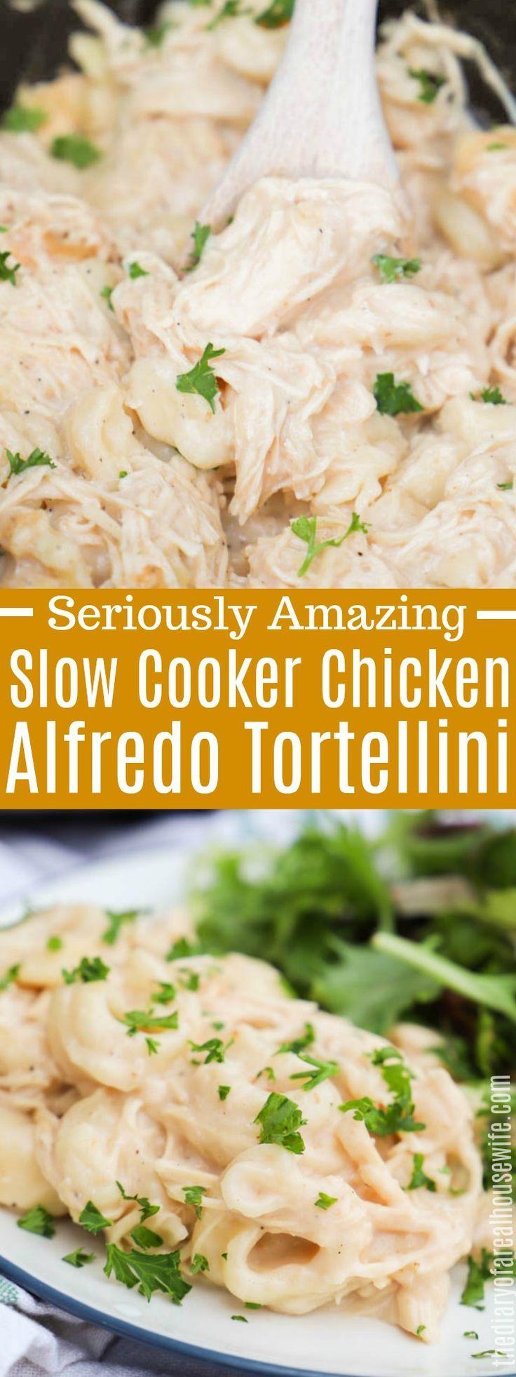 Slow Cooker Chicken Alfredo Tortellini #chicken #slowcooker #chickenalfredo