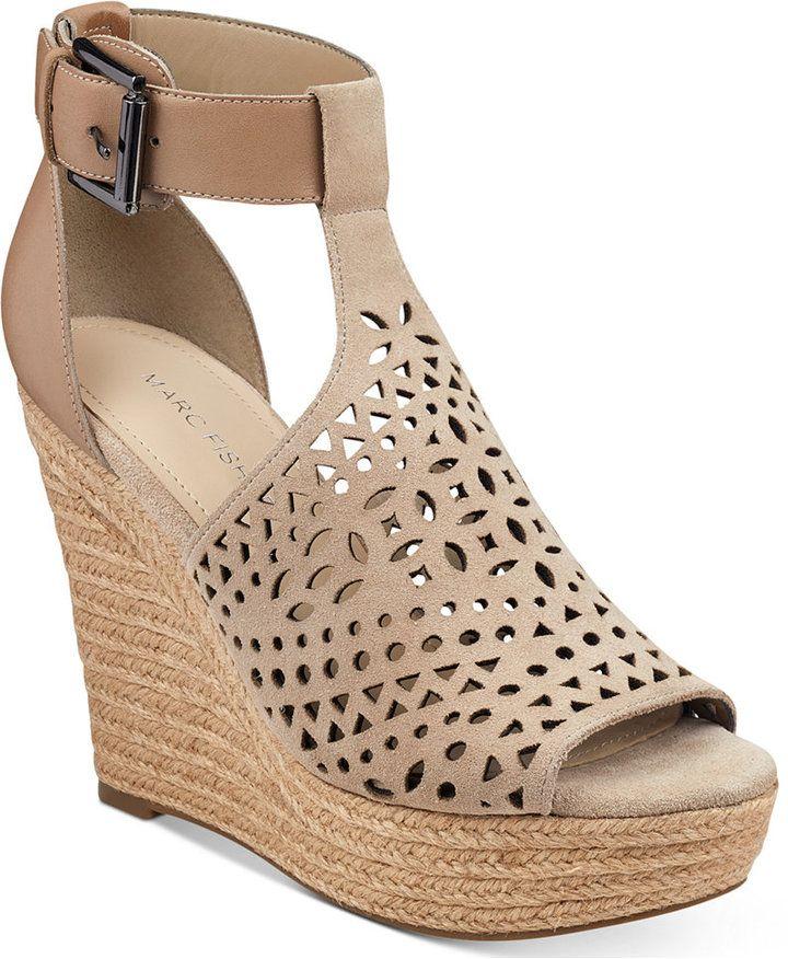 Marc Fisher Hasina T-Strap Platform Wedge Sandals Women's