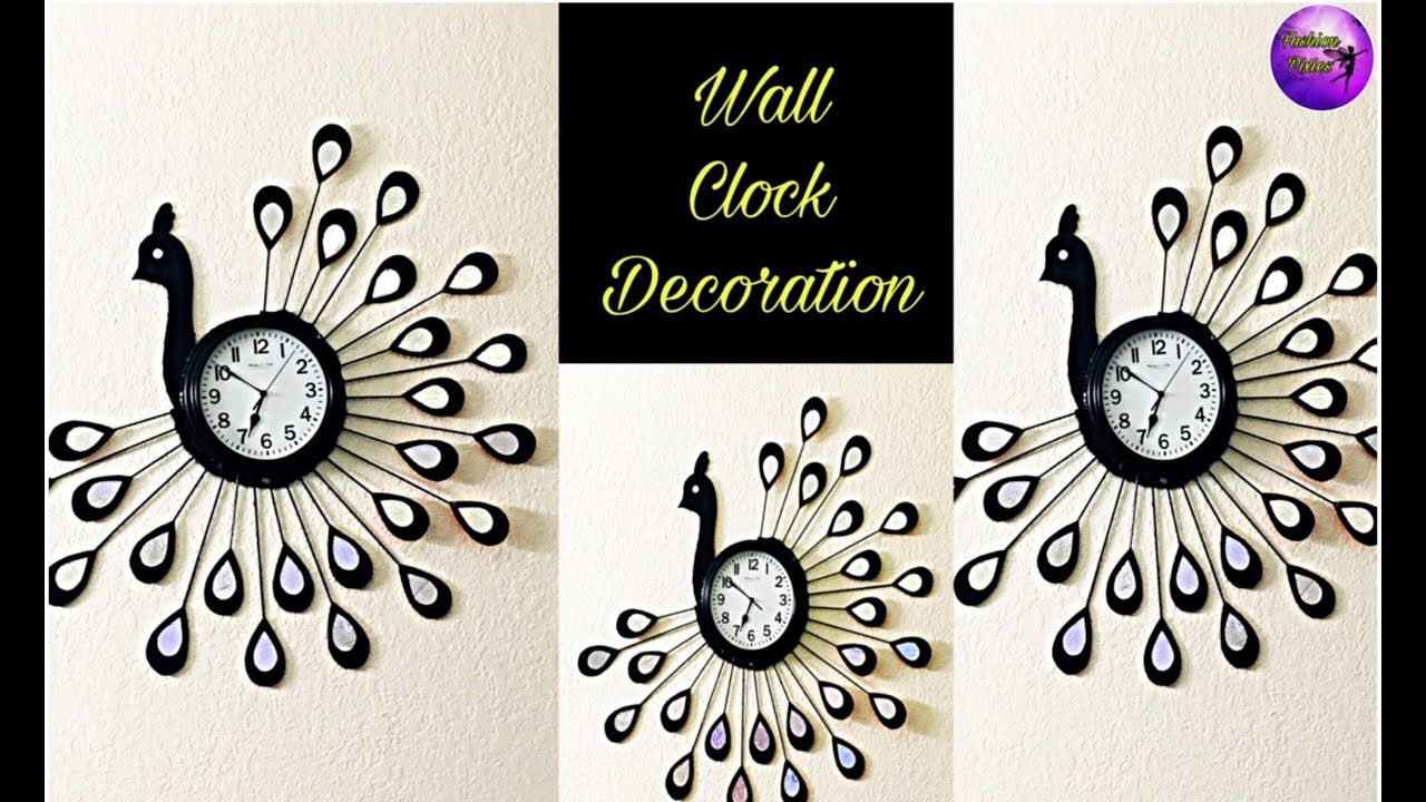 Peacock Wall Clock Decoration Wall Hanging Craft Ideas Handmade Things Fashion Pixies Youtube Clock Wall Decor Hanging Wall Decor Wall Hanging Crafts