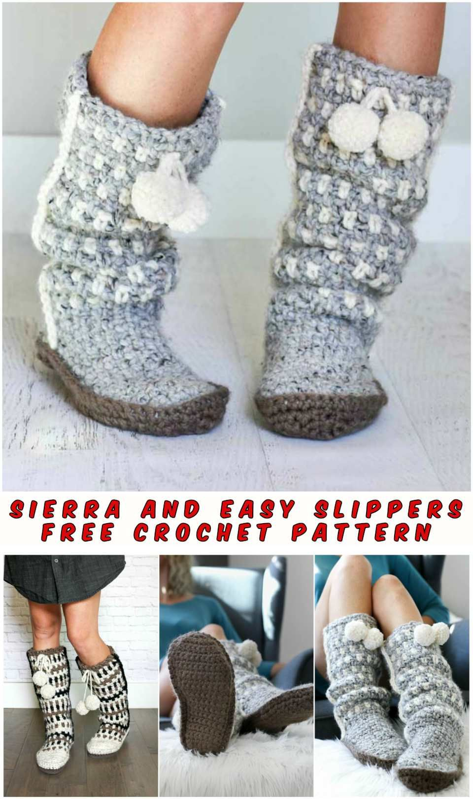 Sierra and Easy Slippers - Free Crochet Pattern | Tejidos bebe ...