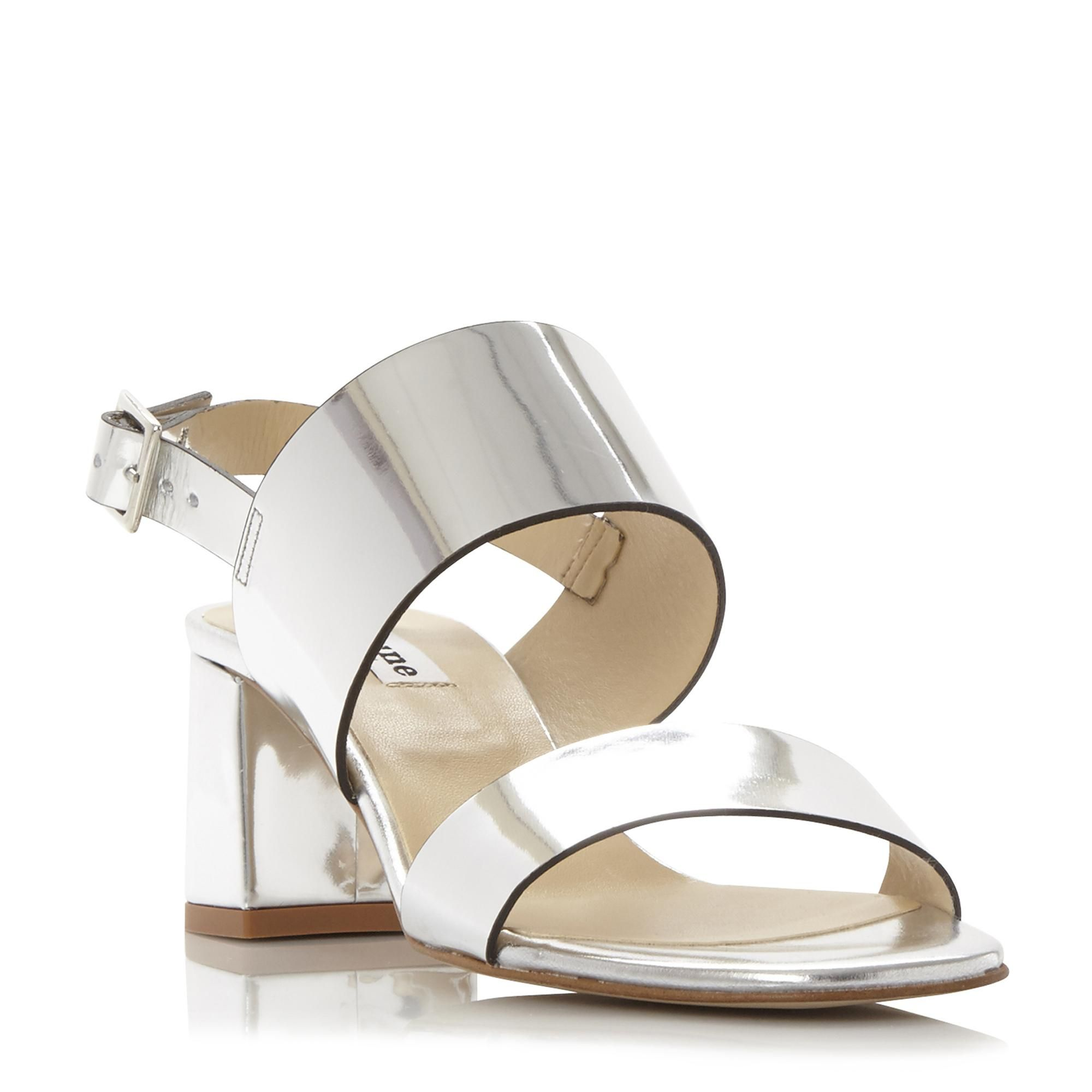3c8ca93afe DUNE LADIES JESTER - Flared Block Heel Sandal - silver | Dune Shoes Online