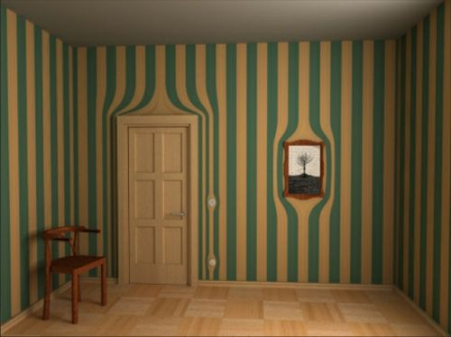 Surrealistische Tapeten - gelbe und grüne Streifen Tapeten - wandgestaltung mit farbe streifen schlafzimmer