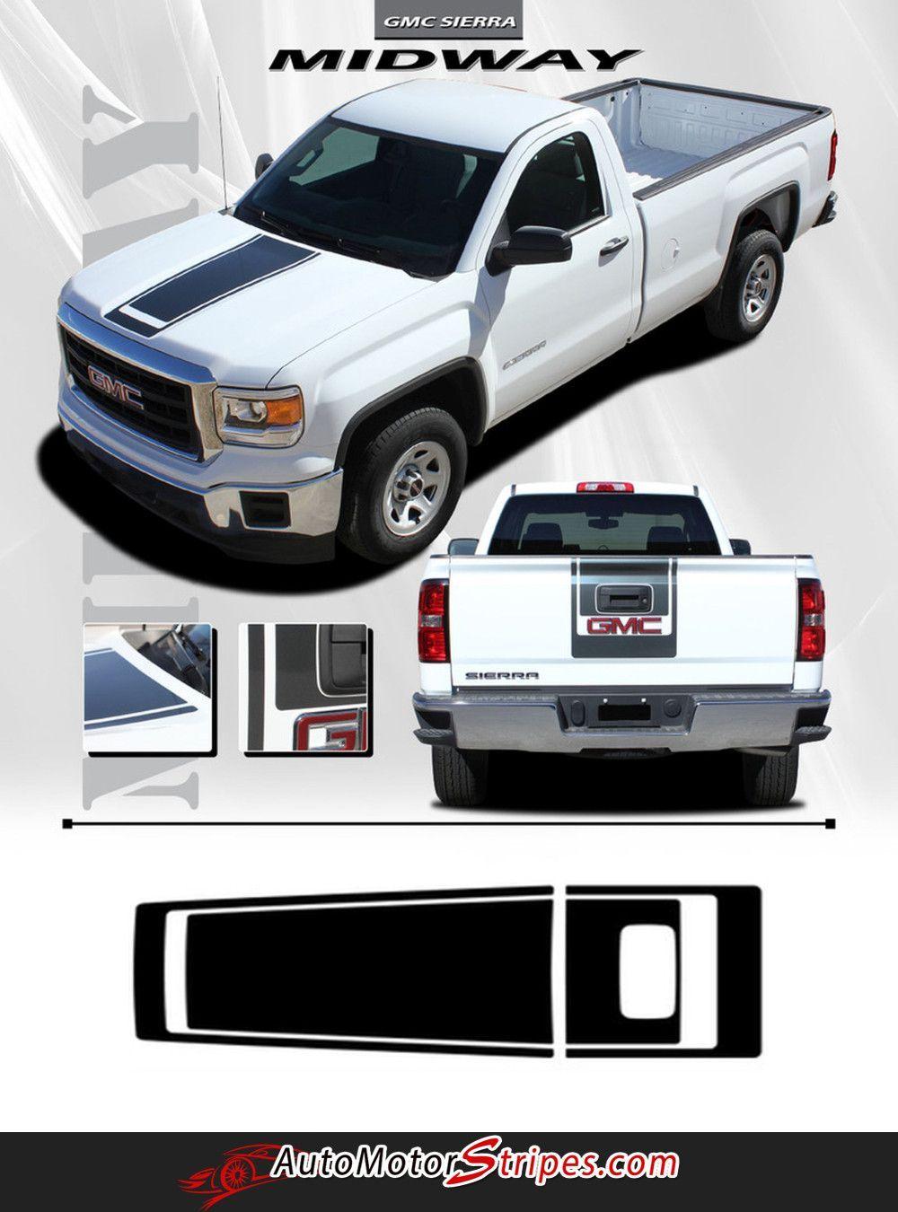 2014 2017 gmc sierra midway edition style truck center hood racing vinyl graphics 3m stripes kit
