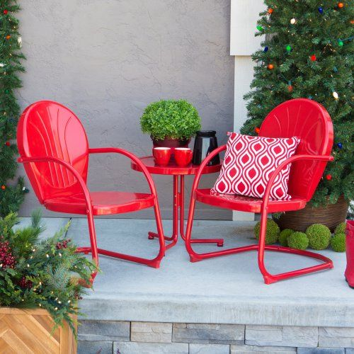 Coral Coast Vintage Retro Chair Chat Set - Outdoor Bistro Sets at ...