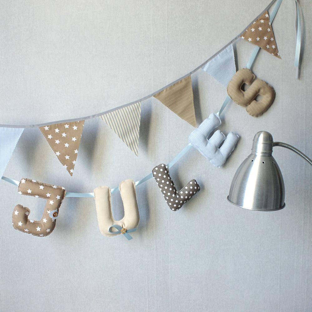 guirlande pr nom b b banderole d co chambre b b bleu et beige lettre tissu enfant. Black Bedroom Furniture Sets. Home Design Ideas