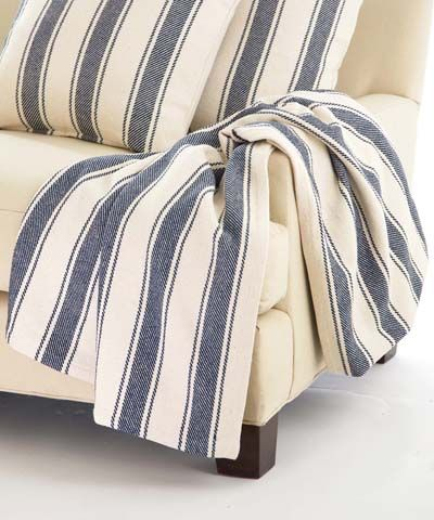 Blue Awning Stripe Woven Cotton Throw 60 X 78 Bliss Home And Design Cotton Throw Blanket Dash And Albert