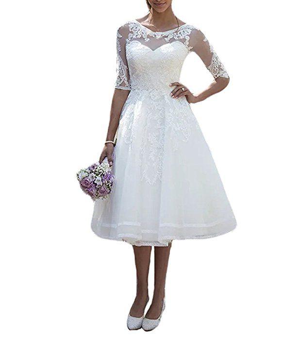 Carnivalprom Damen Spitze Hochzeitskleid Brautkleid mit Ärmeln Sheer ...