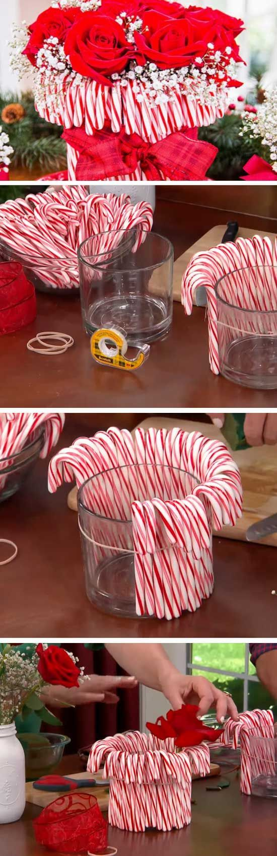 Candy Cane Vase 20 DIY Christmas Party Ideas for Adults