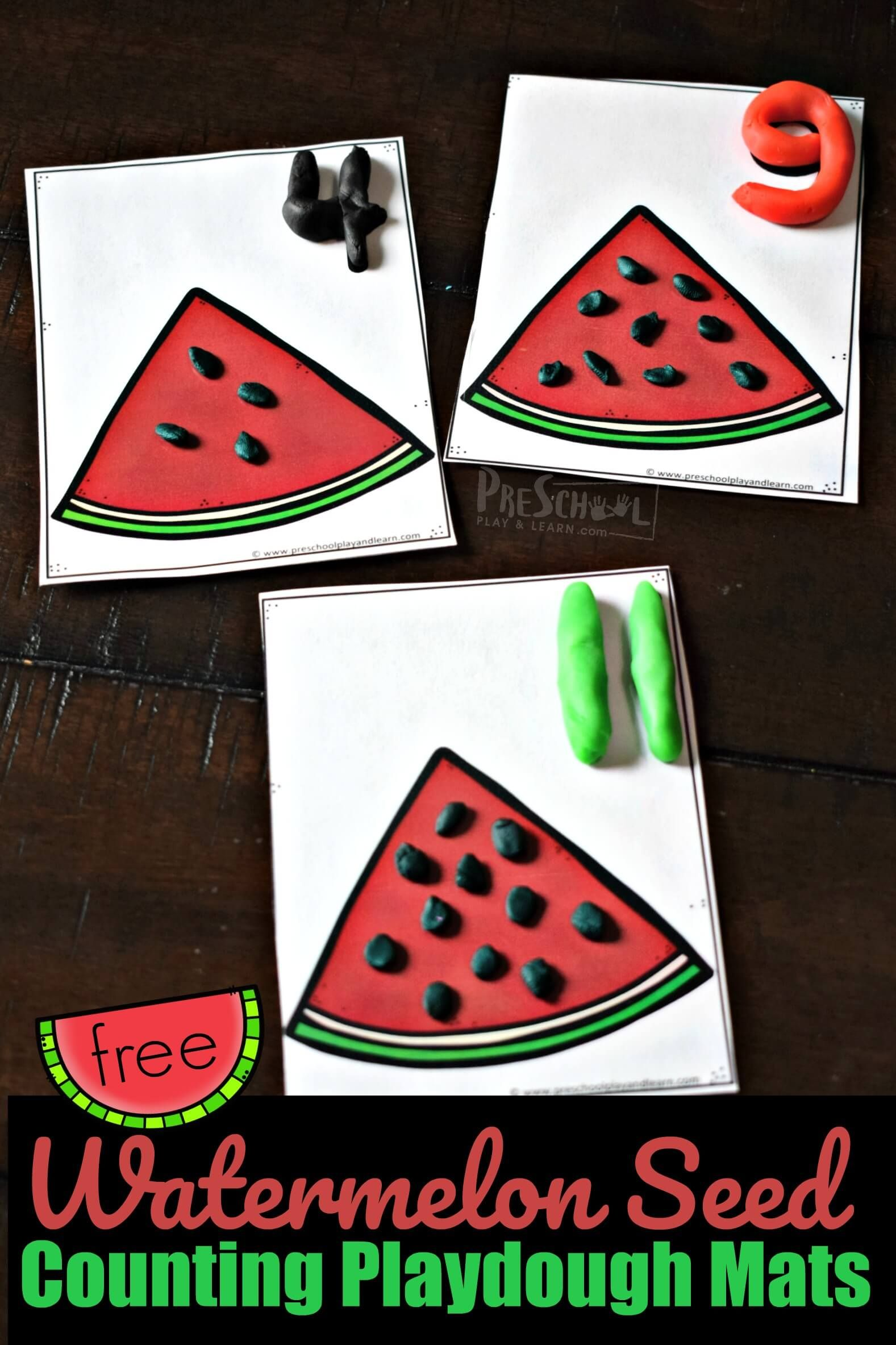 Free Watermelon Seed Counting Playdough Mats Free Printable Activity For Summe Math Activities Preschool Summer Preschool Activities Free Printable Activities