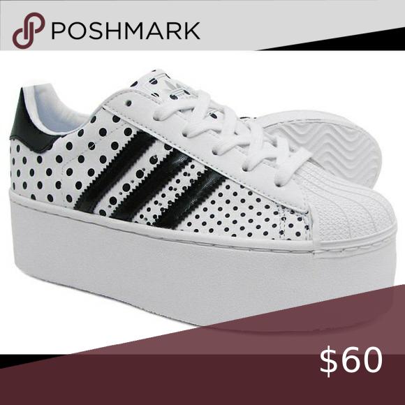 Adidas polka dot platform sneakers in
