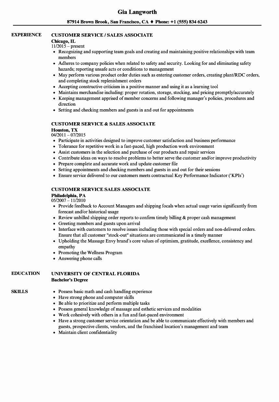 Customer Service Associate Resume New Customer Service Sales Associate Resume Samples