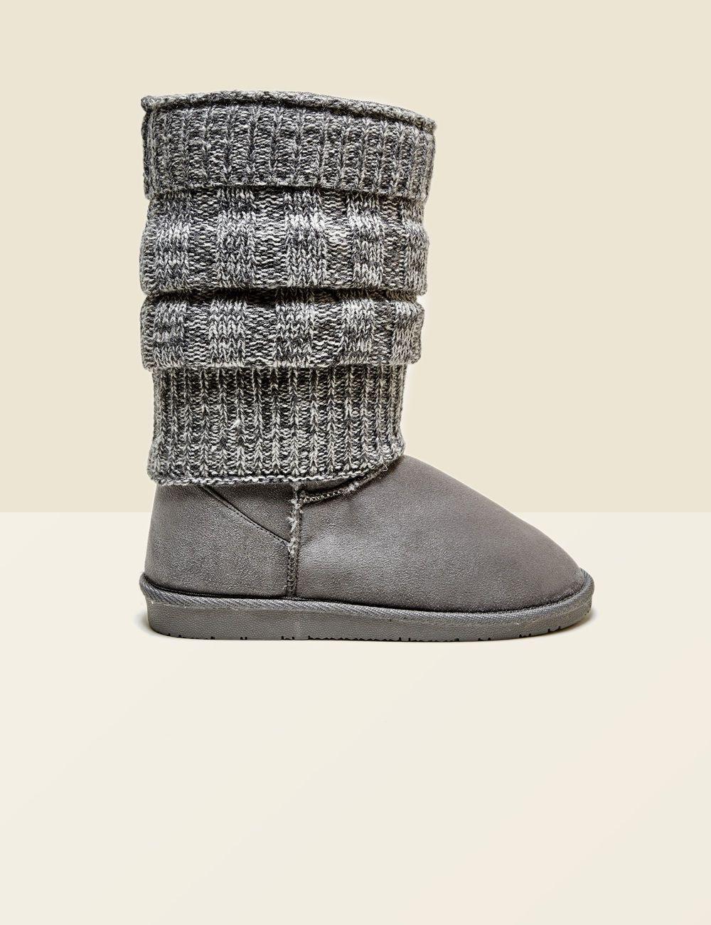 bottes fourrées avec guêtres grises femme • jennyfer | shopping