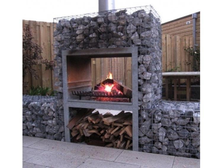 Tuin Open Haard : Buitenhaard in steen en betongaas overdekte terrassen