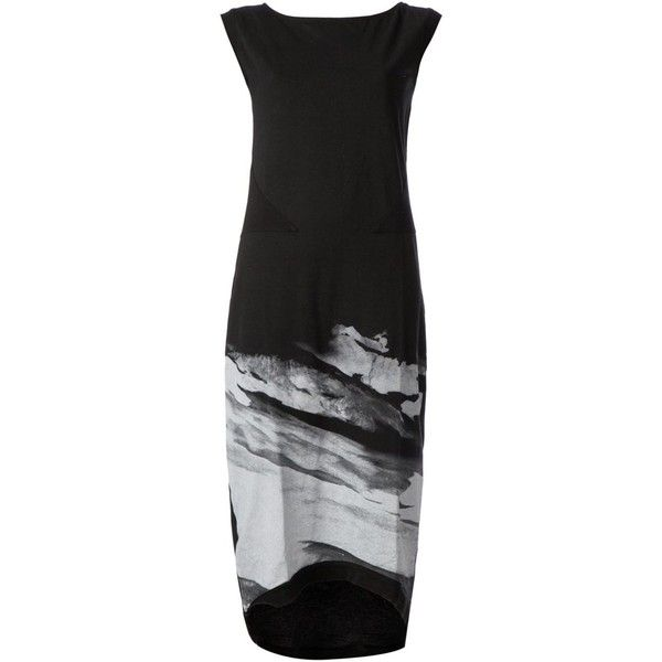 00:00:Mm Midnight Methods mountain print sleeveless dress featuring polyvore, fashion, clothing, dresses, black, black cotton dress, print dress, cotton print dresses, mixed print dress and black sleeveless dress