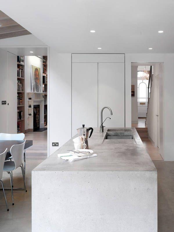 Kuchnia Z Betonowa Wyspa Concrete Kitchen Island Concrete Countertops Kitchen Stylish Kitchen