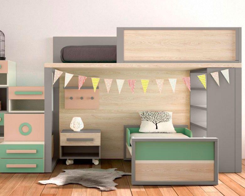 Pin de en pinterest literas habitaci n - Escaleras para camas altas ...