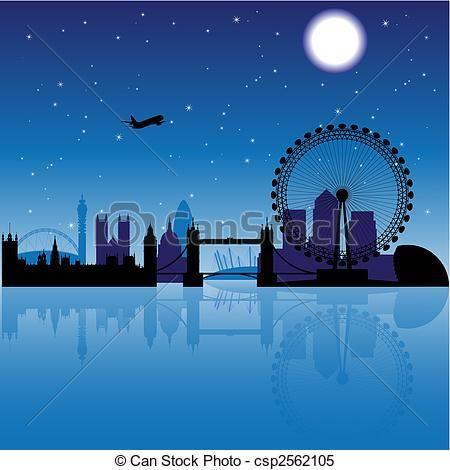 vector london at night stock illustration royalty free illustrations stock clip art