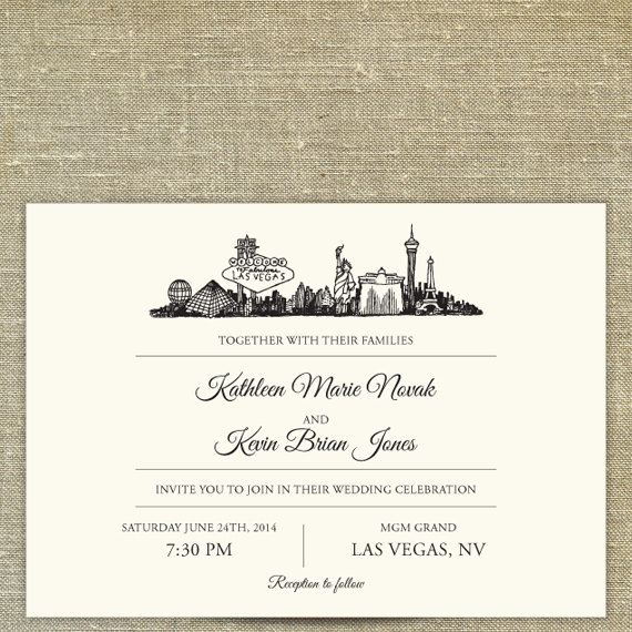 Las Vegas Skyline Destination Wedding Invitation By PixieChicago 800