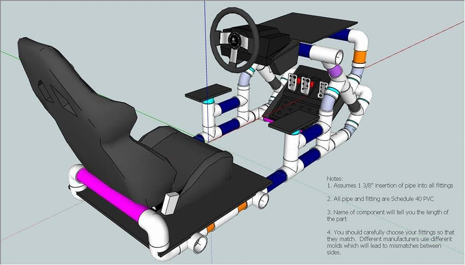 My Version Of The Simul8r Pvc Racing Rig Handmade Crafts Howto Diy Video Game Room Design Racing Chair Racing